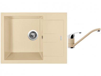 Granitový dřez Sinks AMANDA 650 Sahara + Dřezová baterie Sinks PRONTO Sahara