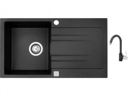 Granitový dřez Sinks RAPID 780 Granblack + Dřezová baterie Sinks MIX 35 Granblack