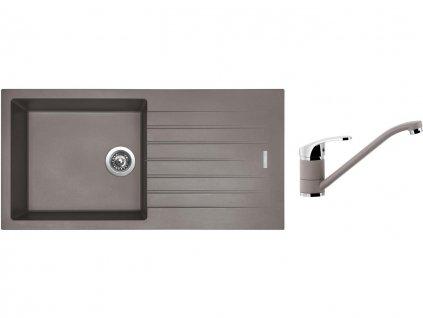 Granitový dřez Sinks PERFECTO 1000 Truffle + Dřezová baterie Sinks Pronto Truffle