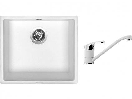 Granitový dřez Sinks FRAME 457 Milk + Dřezová baterie Sinks Pronto Milk