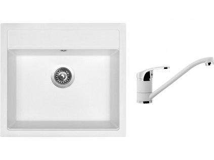 Granitový dřez Sinks SOLO 560 Milk + Dřezová baterie Sinks Pronto Milk  + Čistící pasta Sinks na dřezy
