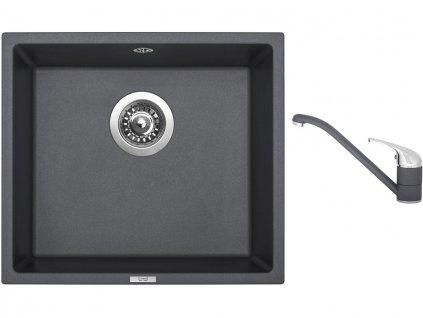 Granitový dřez Sinks FRAME 457 Titanium + Dřezová baterie Sinks CAPRI 4 Titanium