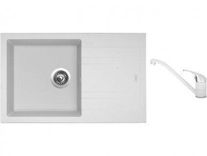 Granitový dřez Sinks LINEA 780 N Milk + Dřezová baterie Sinks CAPRI 4 Milk  + Čistící pasta Sinks na dřezy
