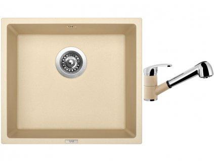 Granitový dřez Sinks FRAME 457 Sahara + Dřezová baterie Sinks LEGENDA S Sahara  + Čistící pasta Sinks na dřezy