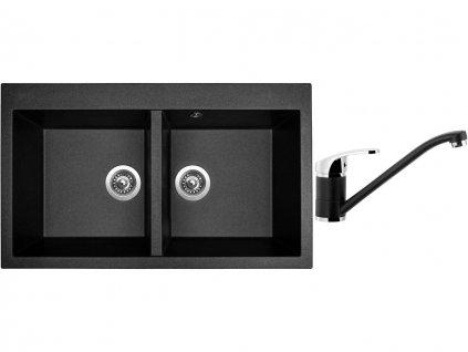 Granitový dřez Sinks AMANDA 860 DUO Metalblack + Dřezová baterie Sinks PRONTO Metalblack