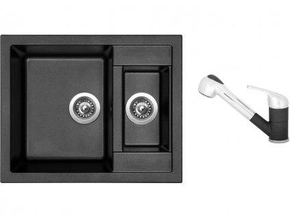 Granitový dřez Sinks CRYSTAL 615.1 Metalblack + Dřezová baterie Sinks CAPRI 4 S Metalblack  + Čistící pasta Sinks na dřezy