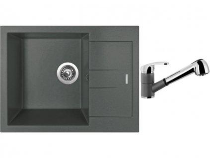Granitový dřez Sinks AMANDA 650 Titanium + Dřezová baterie Sinks LEGENDA S Titanium  + Čistící pasta Sinks na dřezy
