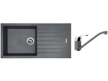 Granitový dřez Sinks PERFECTO 1000 Titanium + Dřezová baterie Sinks PRONTO Titanium
