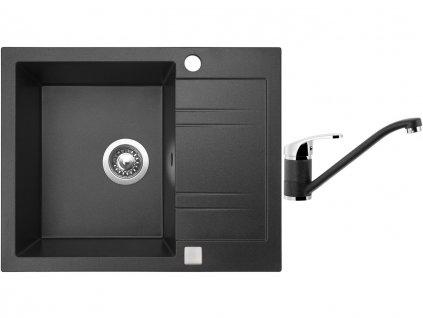 Granitový dřez Sinks LINEA 600 Granblack + Dřezová baterie Sinks Pronto Grandblack