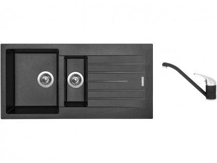Granitový dřez Sinks PERFECTO 1000.1 Metalblack + Dřezová baterie Sinks CAPRI 4 Metalblack  + Čistící pasta Sinks na dřezy