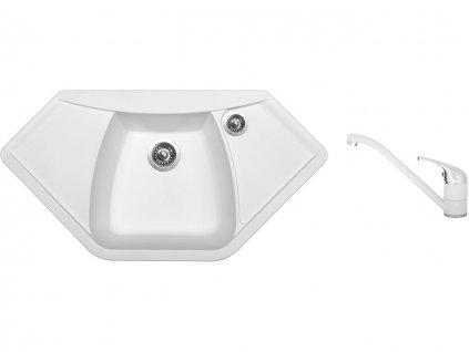 Granitový dřez Sinks NAIKY 980 Milk + Dřezová baterie Sinks CAPRI 4 Milk  + Čistící pasta Sinks na dřezy
