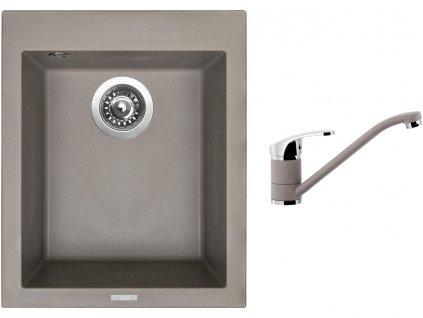 Granitový dřez Sinks CUBE 410 Truffle + Dřezová baterie Sinks Pronto Truffle  + Čistící pasta Sinks na dřezy