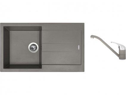 Granitový dřez Sinks AMANDA 860 Truffle + Dřezová baterie Sinks CAPRI 4 Truffle  + Čistící pasta Sinks na dřezy