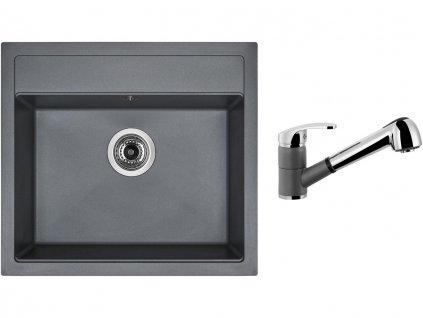 Granitový dřez Sinks SOLO 560 Titanium + Dřezová baterie Sinks LEGENDA S Titanium