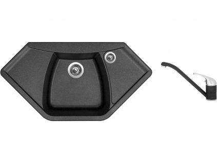 Granitový dřez Sinks NAIKY 980 Metalblack + Dřezová baterie Sinks CAPRI 4 Metalblack
