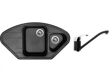 Granitový dřez Sinks LOTUS 960.1 Metalblack + Dřezová baterie Sinks PRONTO Metalblack