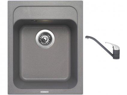 Granitový dřez Sinks CLASSIC 400 Titanium + Dřezová baterie Sinks CAPRI 4 Titanium