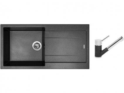 Granitový dřez Sinks AMANDA 990 Metalblack + Dřezová baterie Sinks MIX 4000 P Metalblack