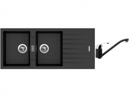 Granitový dřez Sinks PERFECTO 1160 DUO Metalblack + Dřezová baterie Sinks PRONTO Metalblack