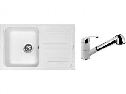 Granitový dřez Sinks CLASSIC 740 Milk + Dřezová baterie Sinks LEGENDA S Milk  + Čistící pasta Sinks na dřezy