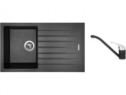 Granitový dřez Sinks PERFECTO 860 Metalblack + Dřezová baterie Sinks CAPRI 4 Metalblack  + Čistící pasta Sinks na dřezy