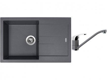 Granitový dřez Sinks AMANDA 780 Titanium + Dřezová baterie Sinks PRONTO Titanium  + Čistící pasta Sinks na dřezy