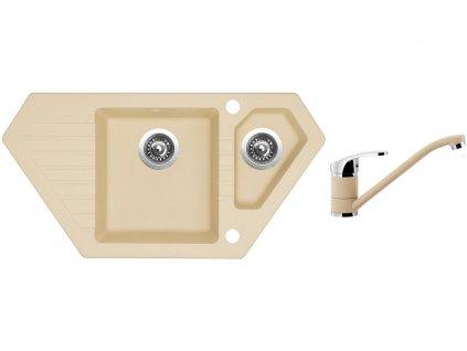 Granitový dřez Sinks BRAVO 850.1 Sahara + Dřezová baterie Sinks PRONTO Sahara