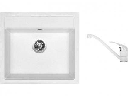 Granitový dřez Sinks SOLO 560 Milk + Dřezová baterie Sinks CAPRI 4 Milk  + Čistící pasta Sinks na dřezy