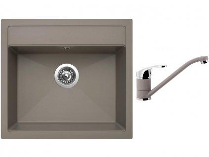 Granitový dřez Sinks SOLO 560 Truffle + Dřezová baterie Sinks Pronto Truffle  + Čistící pasta Sinks na dřezy
