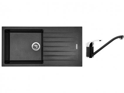 Granitový dřez Sinks PERFECTO 1000 Metalblack + Dřezová baterie Sinks PRONTO Metalblack