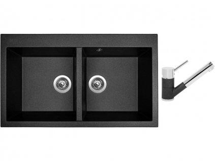 Granitový dřez Sinks AMANDA 860 DUO Metalblack + Dřezová baterie Sinks MIX 4000 P Metalblack