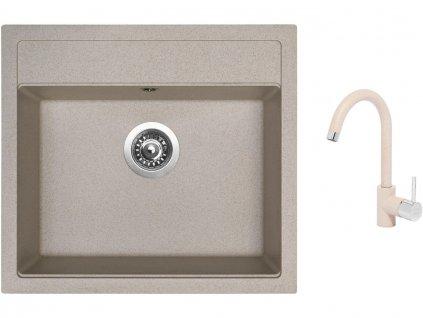 Granitový dřez Sinks SOLO 560 Avena + Dřezová baterie Sinks MIX 35 Avena