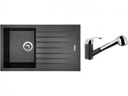 Granitový dřez Sinks PERFECTO 860 Metalblack + Dřezová baterie Sinks LEGENDA S Metalblack  + Čistící pasta Sinks na dřezy