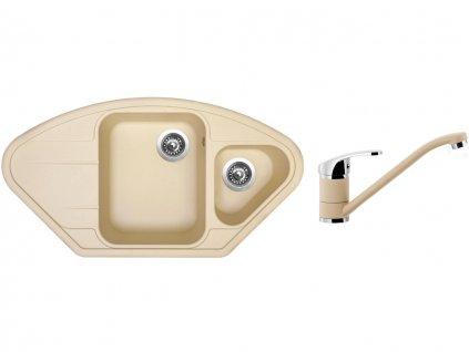Granitový dřez Sinks LOTUS 960.1 Sahara + Dřezová baterie Sinks PRONTO Sahara  + Čistící pasta Sinks na dřezy
