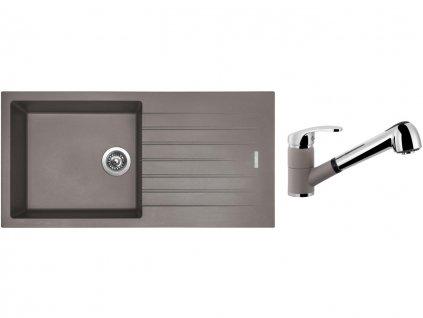 Granitový dřez Sinks PERFECTO 1000 Truffle + Dřezová baterie Sinks LEGENDA S Truffle  + Čistící pasta Sinks na dřezy
