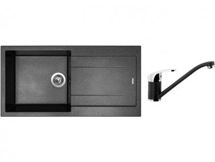 Granitový dřez Sinks AMANDA 990 Metalblack + Dřezová baterie Sinks PRONTO Metalblack  + Čistící pasta Sinks na dřezy