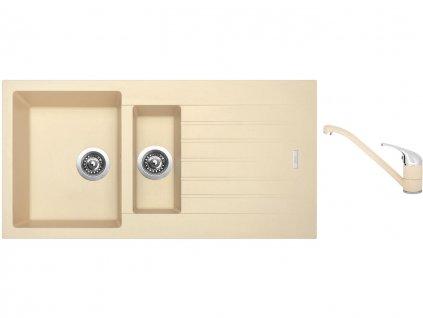 Granitový dřez Sinks PERFECTO 1000.1 Sahara + Dřezová baterie Sinks CAPRI 4 Sahara