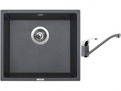 Granitový dřez Sinks FRAME 457 Titanium + Dřezová baterie Sinks PRONTO Titanium