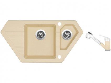 Granitový dřez Sinks BRAVO 850.1 Sahara + Dřezová baterie Sinks CAPRI 4 S Sahara