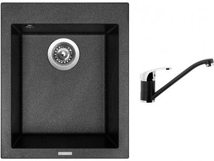 Granitový dřez Sinks CUBE 410 Metalblack + Dřezová baterie Sinks PRONTO Metalblack  + Čistící pasta Sinks na dřezy