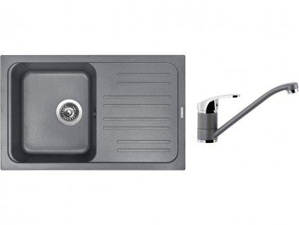 Granitový dřez Sinks CLASSIC 740 Titanium + Dřezová baterie Sinks PRONTO Titanium