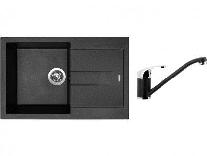 Granitový dřez Sinks AMANDA 780 Metalblack + Dřezová baterie Sinks PRONTO Metalblack  + Čistící pasta Sinks na dřezy