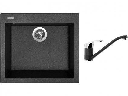 Granitový dřez Sinks CUBE 560 Granblack + Dřezová baterie Sinks Pronto Grandblack  + Čistící pasta Sinks na dřezy