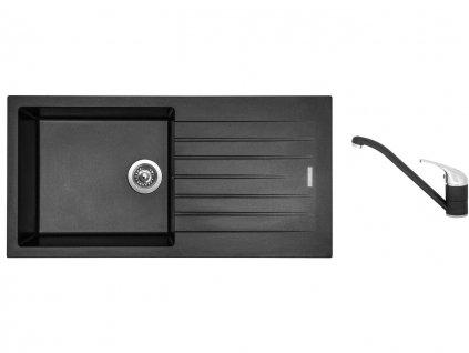 Granitový dřez Sinks PERFECTO 1000 Metalblack + Dřezová baterie Sinks CAPRI 4 Metalblack