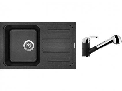 Granitový dřez Sinks CLASSIC 740 Granblack + Dřezová baterie Sinks LEGENDA S Granblack  + Čistící pasta Sinks na dřezy