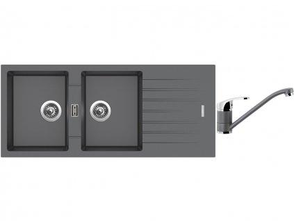 Granitový dřez Sinks PERFECTO 1160 DUO Titanium + Dřezová baterie Sinks PRONTO Titanium  + Čistící pasta Sinks na dřezy