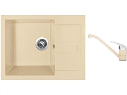Granitový dřez Sinks AMANDA 650 Sahara + Dřezová baterie Sinks CAPRI 4 Sahara