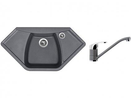 Granitový dřez Sinks NAIKY 980 Titanium + Dřezová baterie Sinks PRONTO Titanium