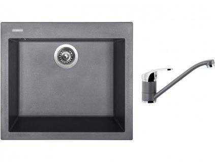 Granitový dřez Sinks CUBE 560 Titanium + Dřezová baterie Sinks PRONTO Titanium  + Čistící pasta Sinks na dřezy