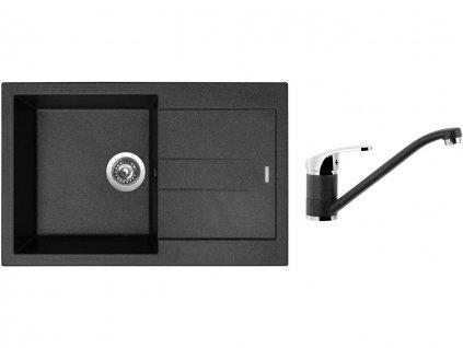 Granitový dřez Sinks AMANDA 780 Granblack + Dřezová baterie Sinks Pronto Grandblack  + Čistící pasta Sinks na dřezy